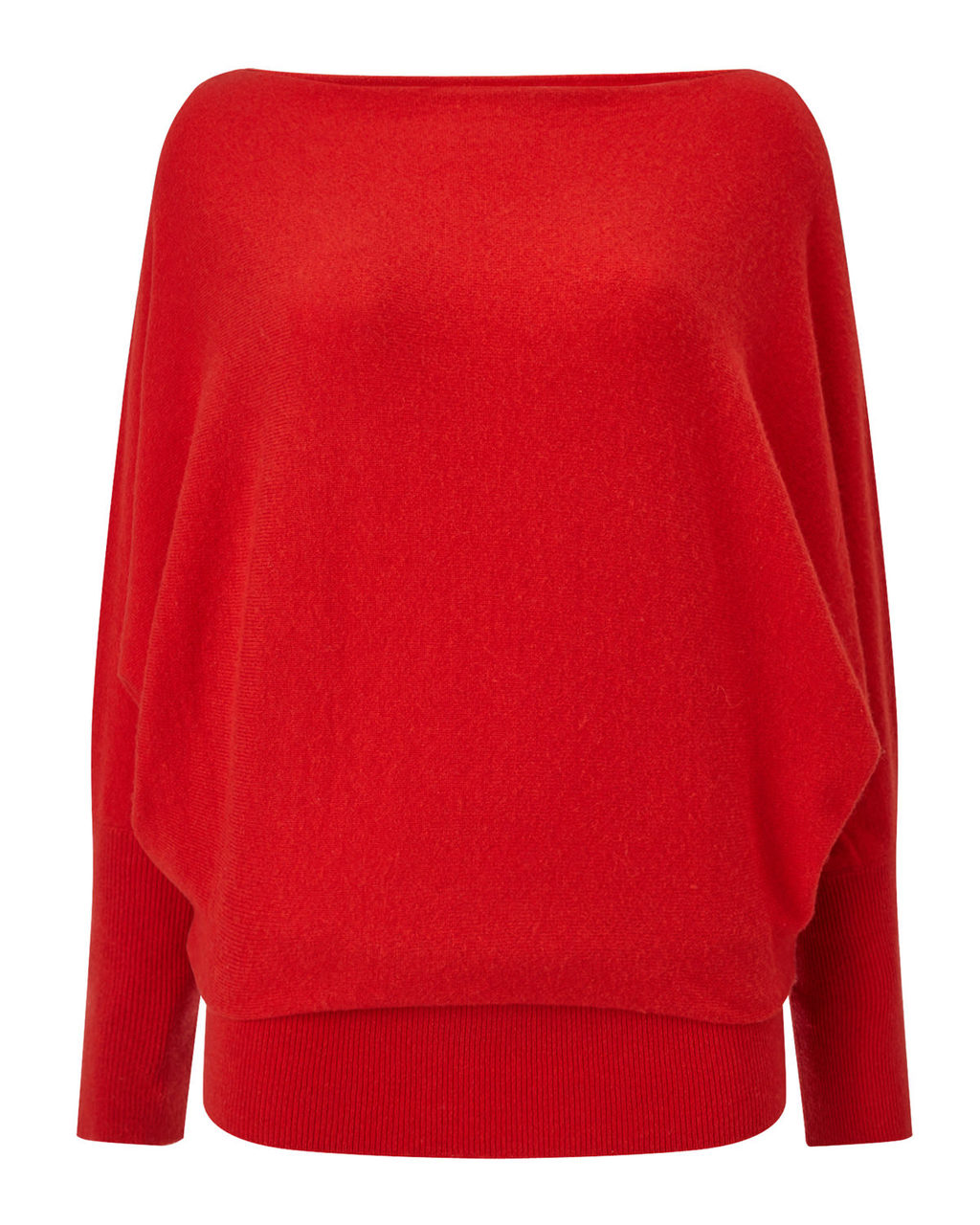 Britney Batwing Jumper - neckline: slash/boat neckline; sleeve style: dolman/batwing; pattern: plain; style: standard; predominant colour: true red; occasions: casual; length: standard; fibres: wool - mix; fit: loose; sleeve length: long sleeve; texture group: knits/crochet; pattern type: knitted - fine stitch; season: a/w 2015