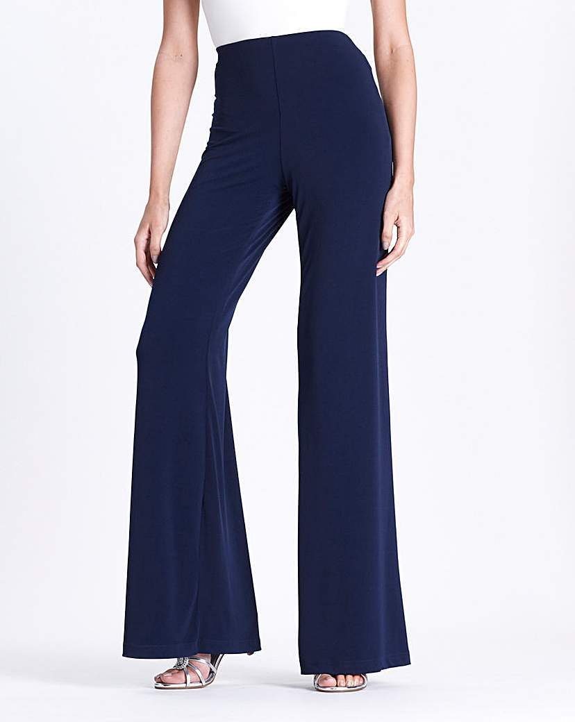 Joanna Hope Jersey Palazzo Trousers 27in - length: standard; pattern: plain; waist: high rise; predominant colour: navy; occasions: evening, creative work; fit: wide leg; pattern type: fabric; texture group: jersey - stretchy/drapey; style: standard; season: a/w 2015