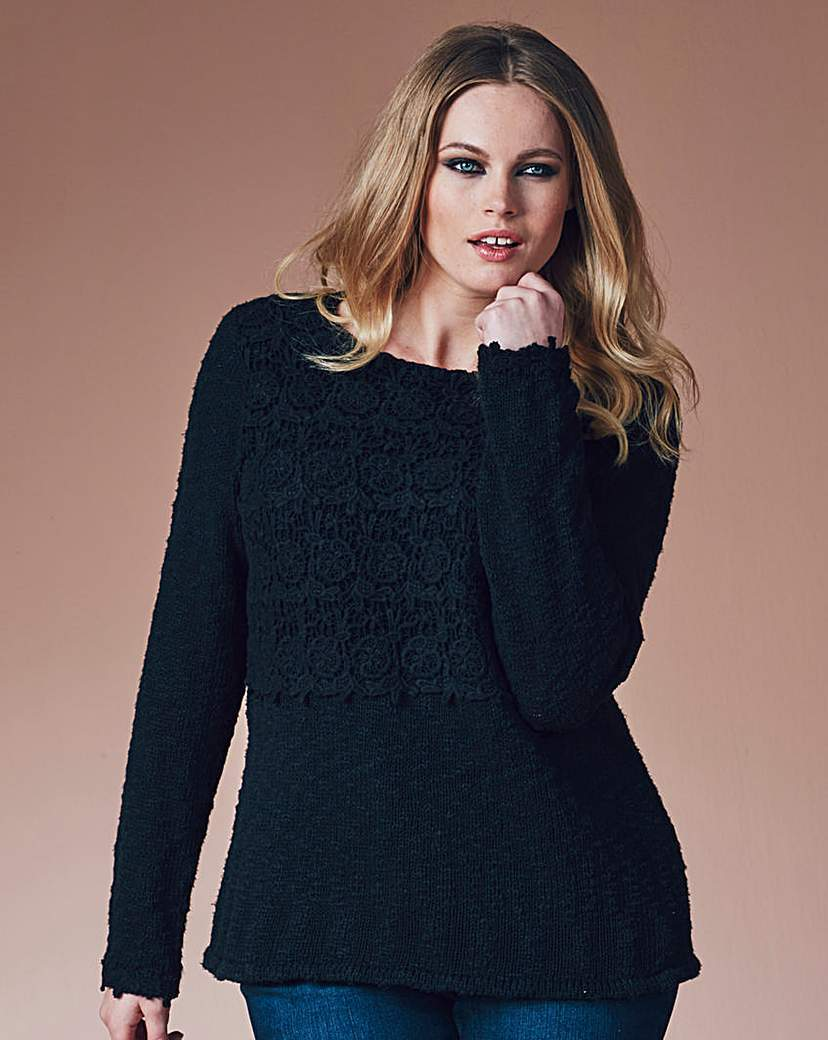 Crochet Trim Jumper - pattern: plain; style: standard; predominant colour: navy; occasions: casual; length: standard; fibres: cotton - 100%; fit: slim fit; neckline: crew; sleeve length: long sleeve; sleeve style: standard; texture group: knits/crochet; pattern type: fabric; season: a/w 2015