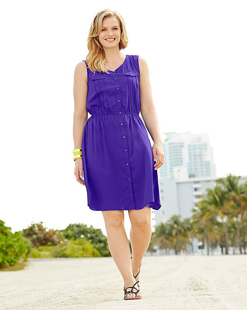 Shirt Dress - neckline: round neck; fit: fitted at waist; pattern: plain; sleeve style: sleeveless; style: sundress; waist detail: elasticated waist; bust detail: pocket detail at bust; predominant colour: purple; occasions: casual, holiday; length: just above the knee; fibres: polyester/polyamide - 100%; sleeve length: sleeveless; texture group: crepes; pattern type: fabric; season: a/w 2015