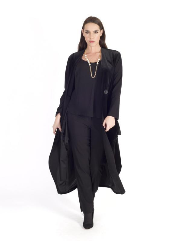 Black Jersey Trim Velvet Drape Coat - pattern: plain; collar: round collar/collarless; fit: loose; style: single breasted; length: calf length; predominant colour: black; occasions: evening; fibres: polyester/polyamide - mix; sleeve length: long sleeve; sleeve style: standard; collar break: low/open; pattern type: fabric; texture group: velvet/fabrics with pile; season: a/w 2015; wardrobe: event
