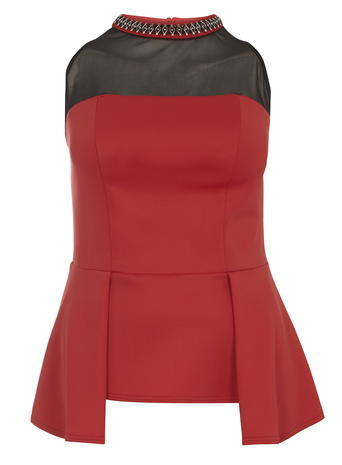 Womens **Dp Curve Red Embellished Peplum Top Red - sleeve style: sleeveless; neckline: high neck; length: below the bottom; waist detail: peplum waist detail; secondary colour: black; occasions: evening; style: top; fibres: polyester/polyamide - mix; fit: tailored/fitted; sleeve length: sleeveless; pattern type: fabric; pattern size: standard; pattern: colourblock; texture group: jersey - stretchy/drapey; embellishment: jewels/stone; predominant colour: raspberry; season: a/w 2015; wardrobe: event
