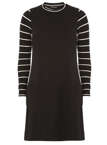 Womens Black Stripy Bodycon Dress Black - style: shift; length: mid thigh; neckline: high neck; pattern: striped; secondary colour: white; predominant colour: black; occasions: casual, creative work; fit: body skimming; fibres: polyester/polyamide - stretch; sleeve length: long sleeve; sleeve style: standard; pattern type: fabric; pattern size: light/subtle; texture group: jersey - stretchy/drapey; season: a/w 2015; wardrobe: highlight