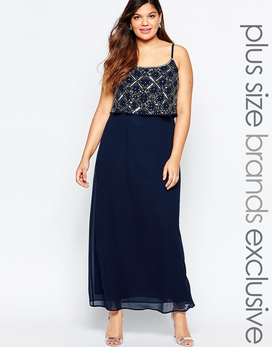 Double Layer Embellished Maxi Dress Navy - neckline: round neck; sleeve style: spaghetti straps; style: maxi dress; length: ankle length; predominant colour: navy; occasions: evening, occasion; fit: fitted at waist & bust; fibres: polyester/polyamide - 100%; sleeve length: sleeveless; texture group: sheer fabrics/chiffon/organza etc.; pattern type: fabric; pattern size: standard; pattern: patterned/print; embellishment: beading; season: a/w 2015