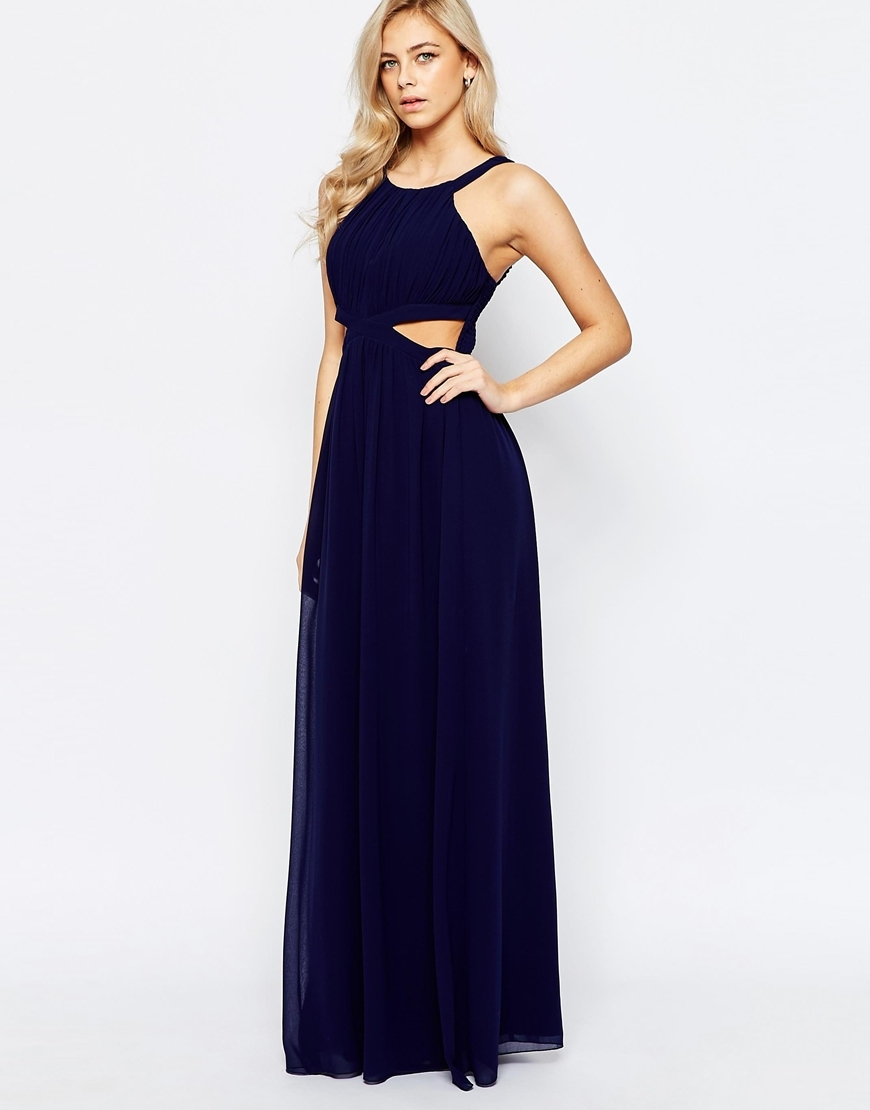 Chiffon Maxi Dress With Cut Outs Navy - neckline: round neck; sleeve style: standard vest straps/shoulder straps; pattern: plain; style: maxi dress; predominant colour: navy; occasions: evening, occasion; length: floor length; fit: fitted at waist & bust; fibres: polyester/polyamide - 100%; hip detail: slits at hip; waist detail: cut out detail; sleeve length: sleeveless; texture group: sheer fabrics/chiffon/organza etc.; pattern type: fabric; season: a/w 2015