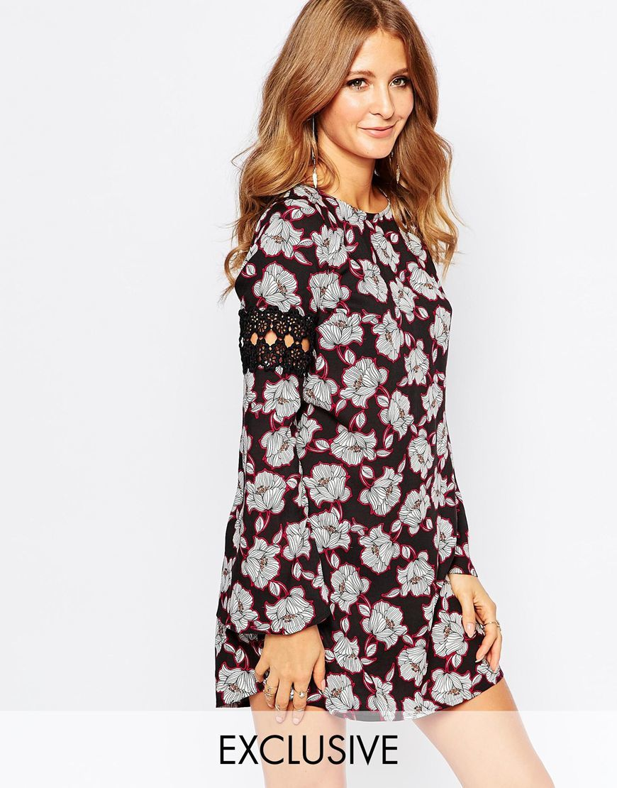 Floral Smock Dress Kg109029 Col 44flor - style: shift; length: mini; secondary colour: light grey; predominant colour: black; occasions: evening; fit: body skimming; fibres: viscose/rayon - 100%; neckline: crew; sleeve length: long sleeve; sleeve style: standard; pattern type: fabric; pattern: florals; texture group: woven light midweight; embellishment: lace; multicoloured: multicoloured; season: a/w 2015; wardrobe: event
