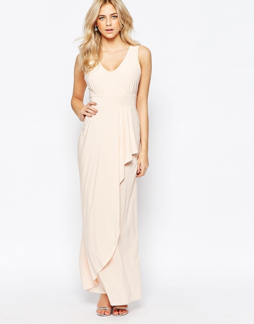 Drape Front Maxi Dress Nude - neckline: v-neck; pattern: plain; sleeve style: sleeveless; style: maxi dress; length: ankle length; predominant colour: blush; occasions: evening; fit: body skimming; fibres: polyester/polyamide - stretch; hip detail: subtle/flattering hip detail; sleeve length: sleeveless; pattern type: fabric; texture group: jersey - stretchy/drapey; season: a/w 2015; wardrobe: event