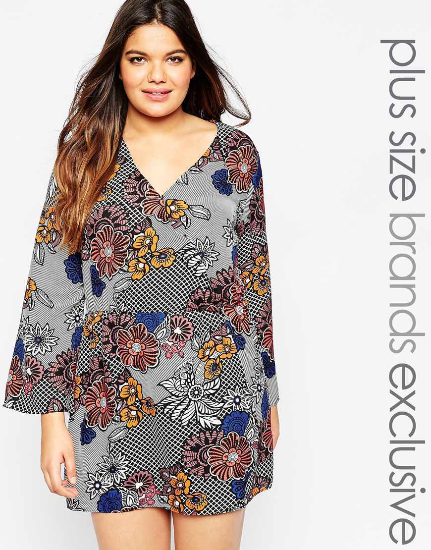 Wrap Front Floral Skater Dress Multi - style: shift; length: mini; neckline: v-neck; secondary colour: yellow; predominant colour: mid grey; occasions: evening, creative work; fit: soft a-line; sleeve length: long sleeve; sleeve style: standard; texture group: crepes; pattern: florals; season: a/w 2015; wardrobe: highlight