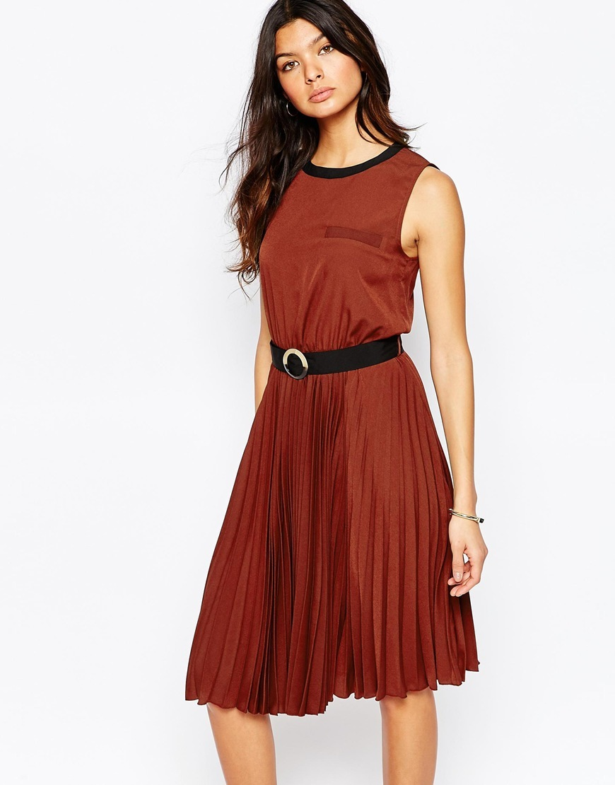 Pleated Midi Dress Tan - neckline: round neck; pattern: plain; sleeve style: sleeveless; length: on the knee; fit: fitted at waist & bust; style: fit & flare; occasions: occasion; sleeve length: sleeveless; pattern type: fabric; texture group: other - light to midweight; predominant colour: raspberry; season: a/w 2015; wardrobe: event