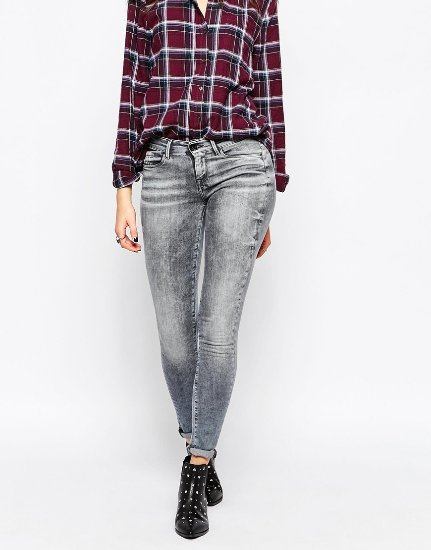 Harlequin Skinny Jeans Grey - style: skinny leg; pattern: plain; waist: low rise; pocket detail: traditional 5 pocket; predominant colour: mid grey; occasions: casual, evening; length: ankle length; fibres: cotton - stretch; texture group: denim; pattern type: fabric; season: a/w 2015; wardrobe: highlight