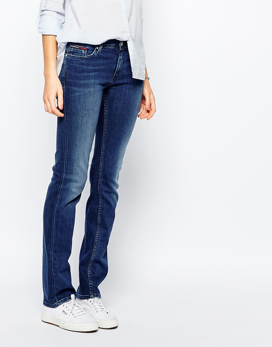 Mid Rise Straight Suzzy Jean Mid Blue - style: straight leg; length: standard; pattern: plain; waist: low rise; pocket detail: traditional 5 pocket; predominant colour: navy; occasions: casual; fibres: cotton - stretch; texture group: denim; pattern type: fabric; season: a/w 2015; wardrobe: basic