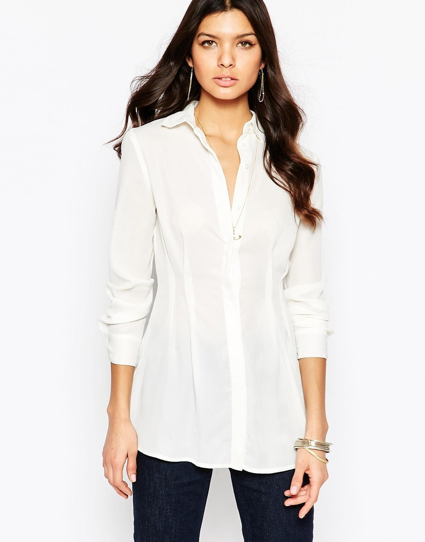 Pleat Detail Shirt In Crepe Ivory - neckline: shirt collar/peter pan/zip with opening; pattern: plain; length: below the bottom; style: shirt; predominant colour: ivory/cream; occasions: work; fibres: cotton - 100%; fit: loose; sleeve length: long sleeve; sleeve style: standard; texture group: crepes; pattern type: fabric; season: a/w 2015; wardrobe: basic