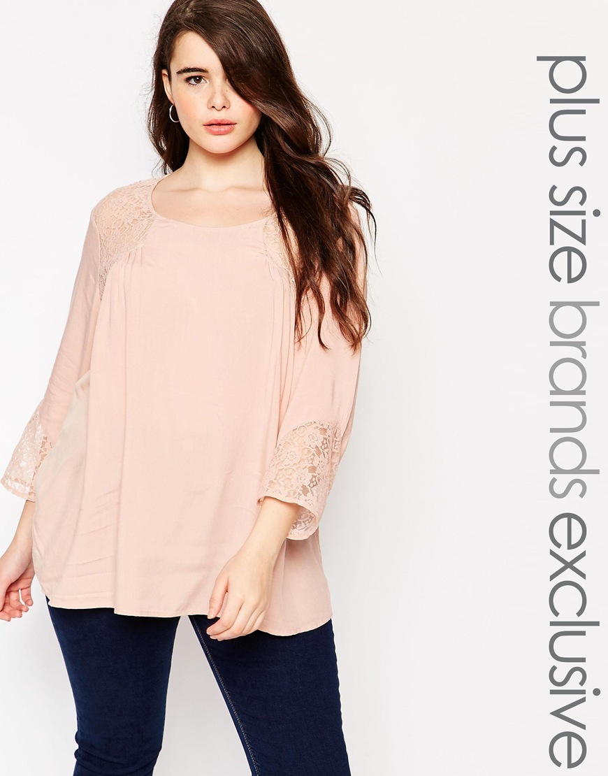 Lace Insert Blouse Pink - neckline: round neck; pattern: plain; length: below the bottom; style: blouse; predominant colour: blush; occasions: casual; fibres: polyester/polyamide - 100%; fit: loose; sleeve length: 3/4 length; sleeve style: standard; pattern type: fabric; texture group: other - light to midweight; embellishment: lace; shoulder detail: sheer at shoulder; season: a/w 2015; wardrobe: highlight