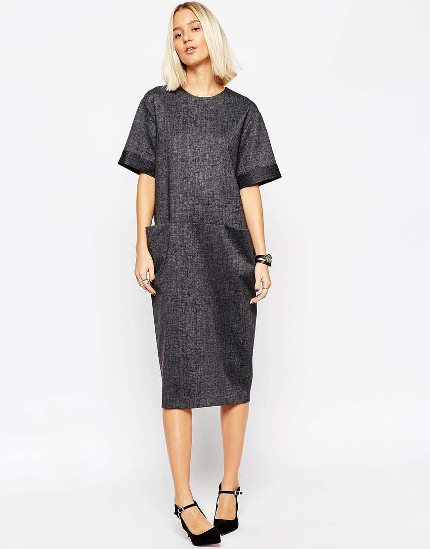 Tailored Midi Dress With Pocket Detail Grey - style: shift; length: below the knee; pattern: plain; predominant colour: charcoal; fit: straight cut; neckline: crew; sleeve length: half sleeve; sleeve style: standard; pattern type: fabric; texture group: other - light to midweight; occasions: creative work; season: a/w 2015