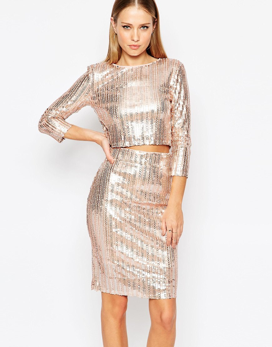All Over Sequin Crop Top With Long Sleeves Nude Sequin - neckline: round neck; pattern: plain; length: cropped; predominant colour: blush; occasions: evening; style: top; fibres: polyester/polyamide - 100%; fit: tight; sleeve length: 3/4 length; sleeve style: standard; pattern type: fabric; texture group: jersey - stretchy/drapey; embellishment: sequins; season: a/w 2015; wardrobe: event