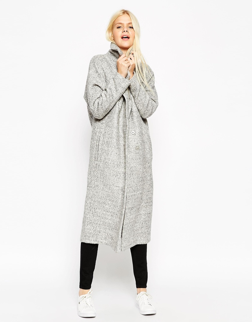 Coat With Batwing Sleeve In Midi Length Grey Marl - collar: funnel; style: single breasted; predominant colour: light grey; occasions: casual, creative work; fit: straight cut (boxy); fibres: wool - mix; length: below the knee; sleeve length: long sleeve; sleeve style: standard; collar break: high; pattern type: fabric; texture group: woven bulky/heavy; pattern: marl; season: a/w 2015; wardrobe: basic