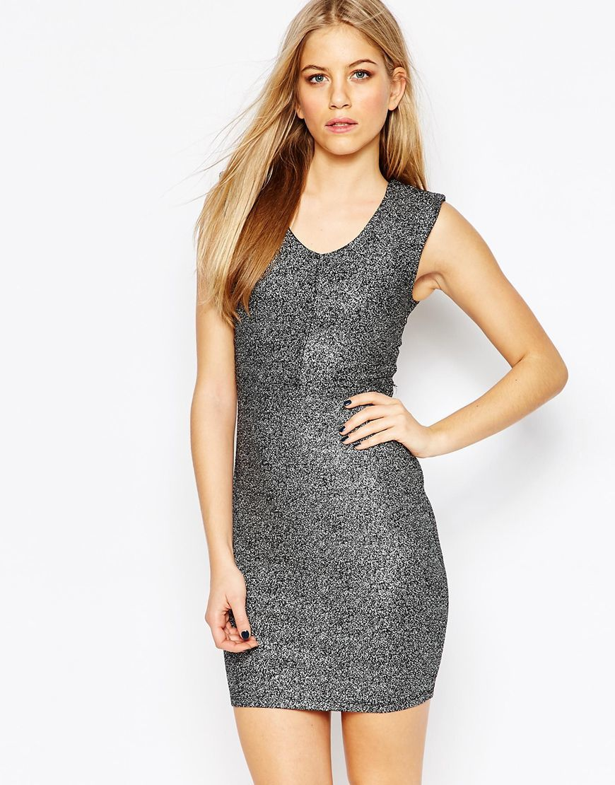 Shimmer Bodycon Dress Black - length: mid thigh; neckline: v-neck; sleeve style: standard vest straps/shoulder straps; fit: tight; pattern: plain; style: bodycon; predominant colour: mid grey; occasions: evening, occasion; fibres: polyester/polyamide - stretch; sleeve length: sleeveless; pattern type: fabric; texture group: jersey - stretchy/drapey; season: a/w 2015; wardrobe: event