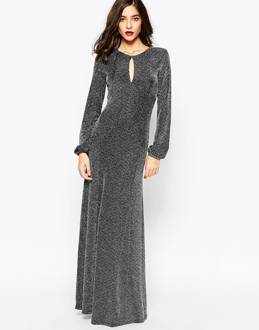 70 S Metallic Statement Maxi Dress Silver - pattern: plain; style: maxi dress; length: floor length; fit: body skimming; neckline: peep hole neckline; occasions: occasion; sleeve length: long sleeve; sleeve style: standard; pattern type: fabric; texture group: jersey - stretchy/drapey; predominant colour: pewter; season: a/w 2015; wardrobe: event