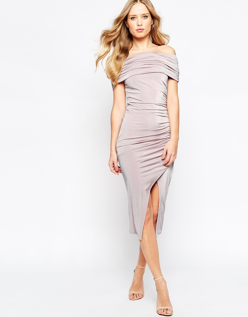 Off The Shoulder Bardot Slinky Drape Midi Dress Lilac - length: calf length; neckline: off the shoulder; fit: tight; pattern: plain; style: bodycon; hip detail: draws attention to hips; predominant colour: lilac; occasions: evening; fibres: polyester/polyamide - stretch; sleeve length: short sleeve; sleeve style: standard; texture group: jersey - clingy; pattern type: fabric; season: a/w 2015; wardrobe: event
