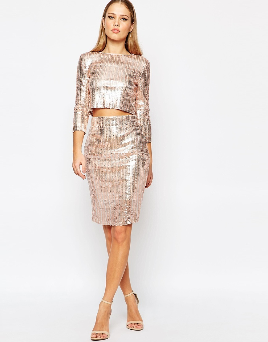 All Over Sequin Midi Skirt Nude Sequin - pattern: plain; style: pencil; fit: tailored/fitted; waist: high rise; predominant colour: blush; occasions: evening, occasion; length: just above the knee; fibres: polyester/polyamide - 100%; pattern type: fabric; texture group: other - light to midweight; embellishment: sequins; season: a/w 2015; wardrobe: event; embellishment location: all over