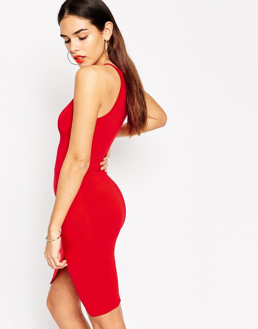 Asymmetric Bodycon Dress With High Neck Red - length: mid thigh; fit: tight; pattern: plain; sleeve style: sleeveless; neckline: high neck; style: bodycon; hip detail: fitted at hip; predominant colour: true red; occasions: evening; fibres: polyester/polyamide - stretch; sleeve length: sleeveless; texture group: jersey - clingy; pattern type: fabric; season: a/w 2015