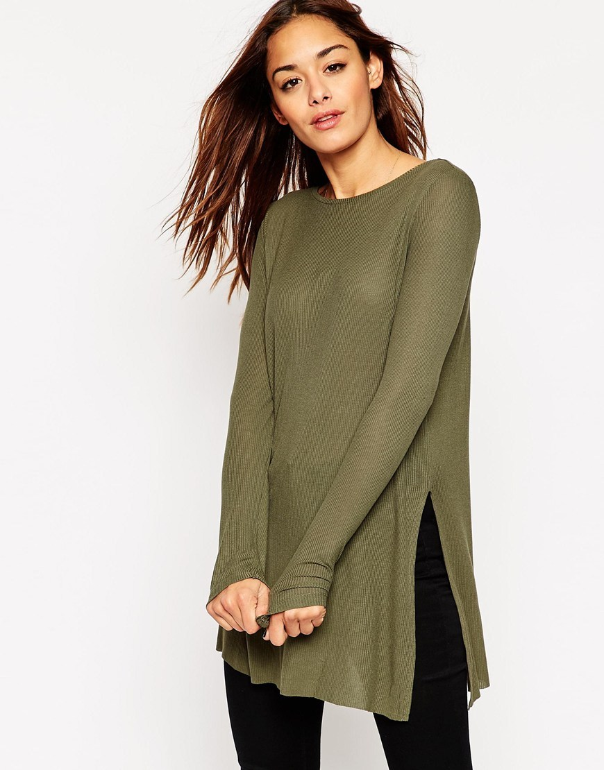 Longline Top With Side Splits And Long Sleeves Khaki - neckline: round neck; pattern: plain; style: tunic; predominant colour: khaki; occasions: casual, creative work; fibres: viscose/rayon - 100%; fit: body skimming; length: mid thigh; hip detail: slits at hip; sleeve length: long sleeve; sleeve style: standard; texture group: knits/crochet; pattern type: knitted - fine stitch; season: a/w 2015