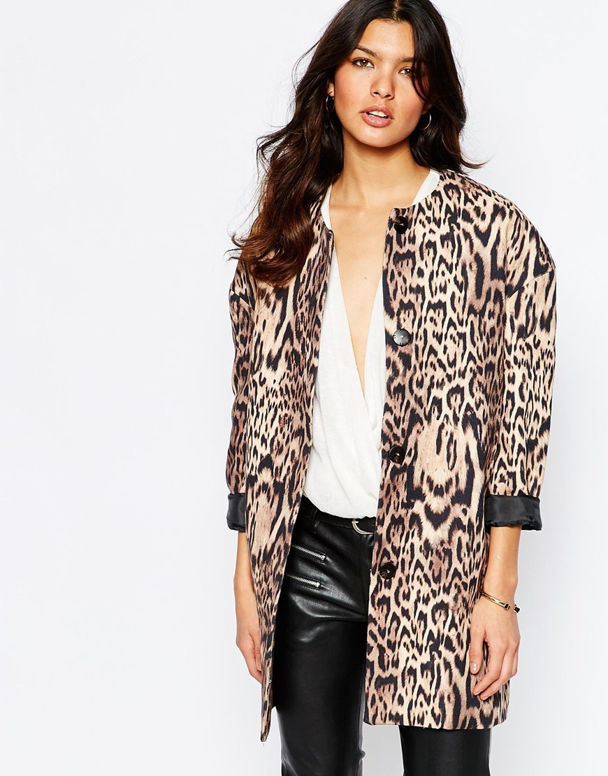 Leopard Print Over Coat Multi - collar: round collar/collarless; style: single breasted; length: mid thigh; secondary colour: chocolate brown; predominant colour: black; occasions: casual, evening, creative work; fit: tailored/fitted; fibres: cotton - mix; sleeve length: long sleeve; sleeve style: standard; collar break: high; pattern type: fabric; pattern: animal print; texture group: woven light midweight; pattern size: big & busy (top); season: a/w 2015