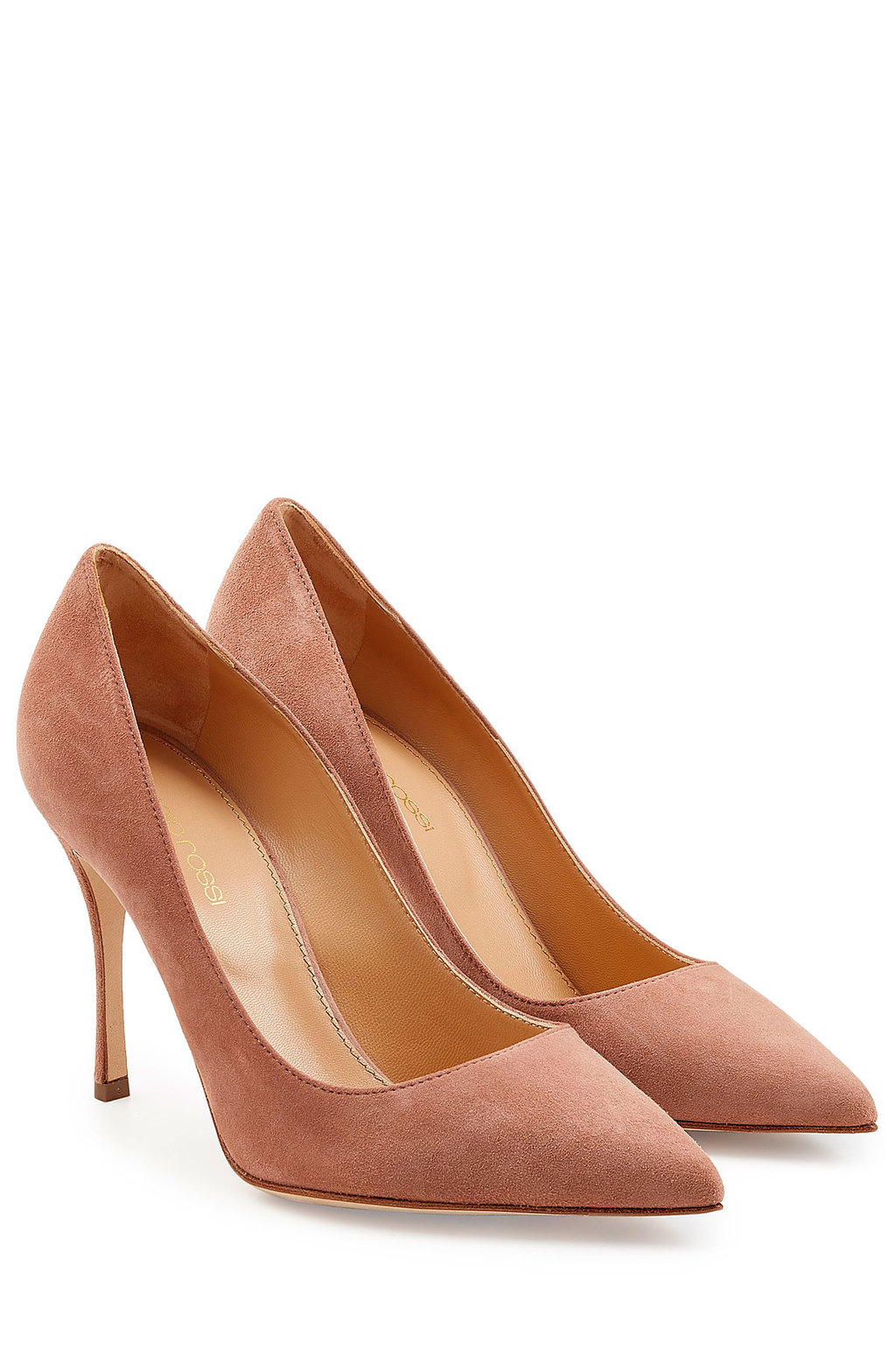 Suede Pumps Rose - predominant colour: camel; occasions: evening, creative work; material: suede; heel height: high; heel: stiletto; toe: pointed toe; style: courts; finish: plain; pattern: plain; season: a/w 2015; wardrobe: investment
