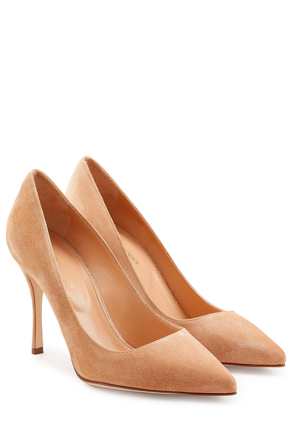 Suede Pumps - predominant colour: nude; occasions: evening, occasion; material: suede; heel height: high; heel: stiletto; toe: pointed toe; style: courts; finish: plain; pattern: plain; season: a/w 2015; wardrobe: event