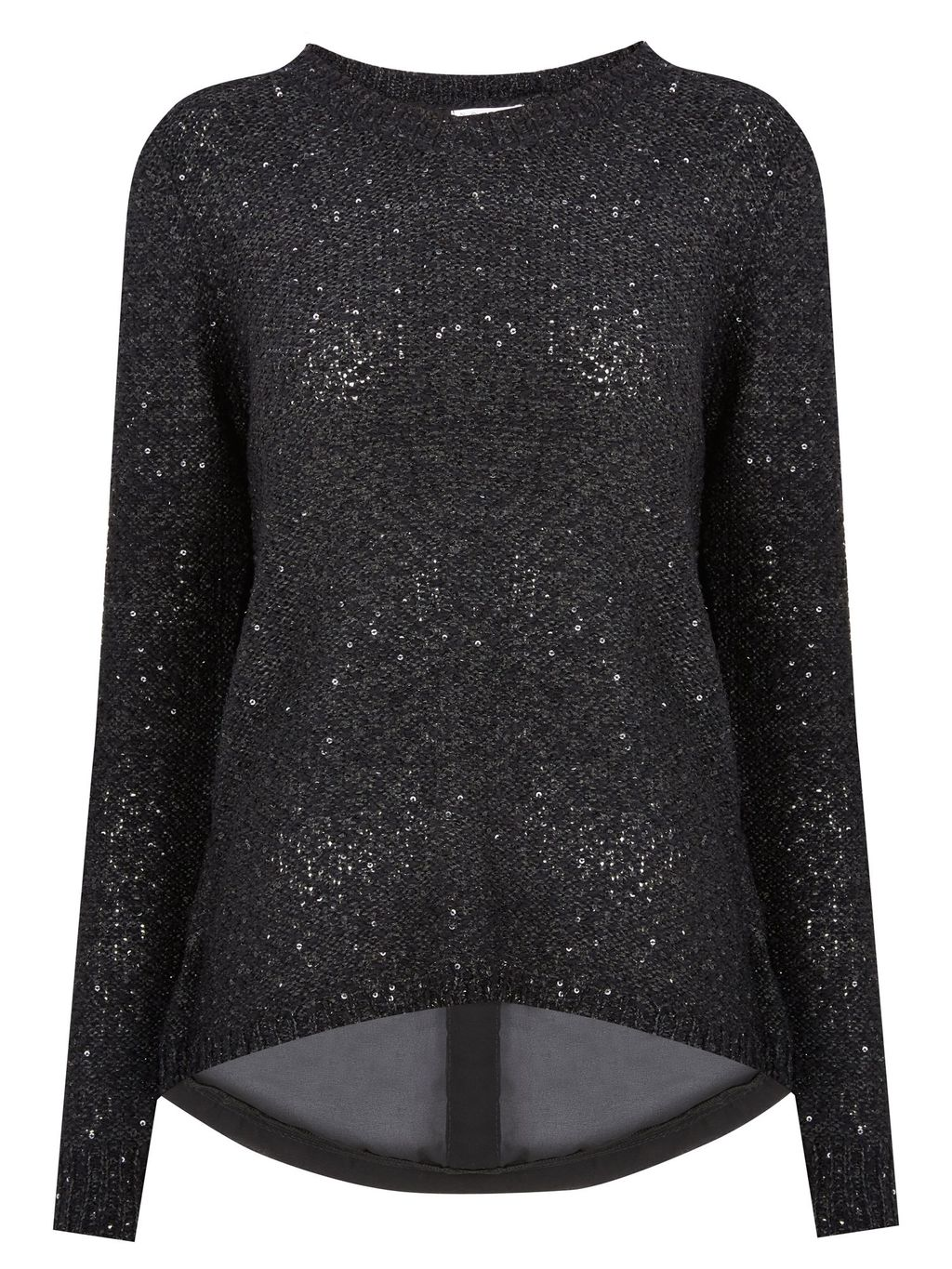 Sequin Jumper, Black - pattern: plain; style: standard; secondary colour: silver; predominant colour: black; occasions: casual, creative work; length: standard; fibres: cotton - mix; fit: standard fit; neckline: crew; back detail: longer hem at back than at front; sleeve length: long sleeve; sleeve style: standard; texture group: knits/crochet; pattern type: knitted - other; embellishment: sequins; season: a/w 2015