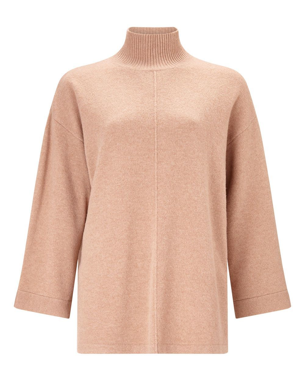Merino Turtle Neck Jumper, Tan - sleeve style: dolman/batwing; pattern: plain; neckline: high neck; style: standard; predominant colour: blush; occasions: casual, creative work; length: standard; fibres: wool - 100%; fit: loose; sleeve length: 3/4 length; texture group: knits/crochet; pattern type: knitted - fine stitch; season: a/w 2015