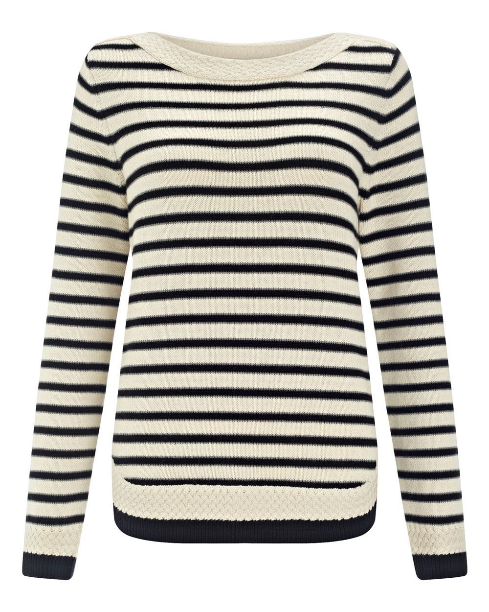 Stripe Cable Detail Jumper, Black - neckline: round neck; pattern: horizontal stripes; style: standard; secondary colour: ivory/cream; predominant colour: black; occasions: casual, creative work; length: standard; fibres: cotton - mix; fit: standard fit; sleeve length: long sleeve; sleeve style: standard; texture group: knits/crochet; pattern type: knitted - fine stitch; season: a/w 2015; wardrobe: highlight