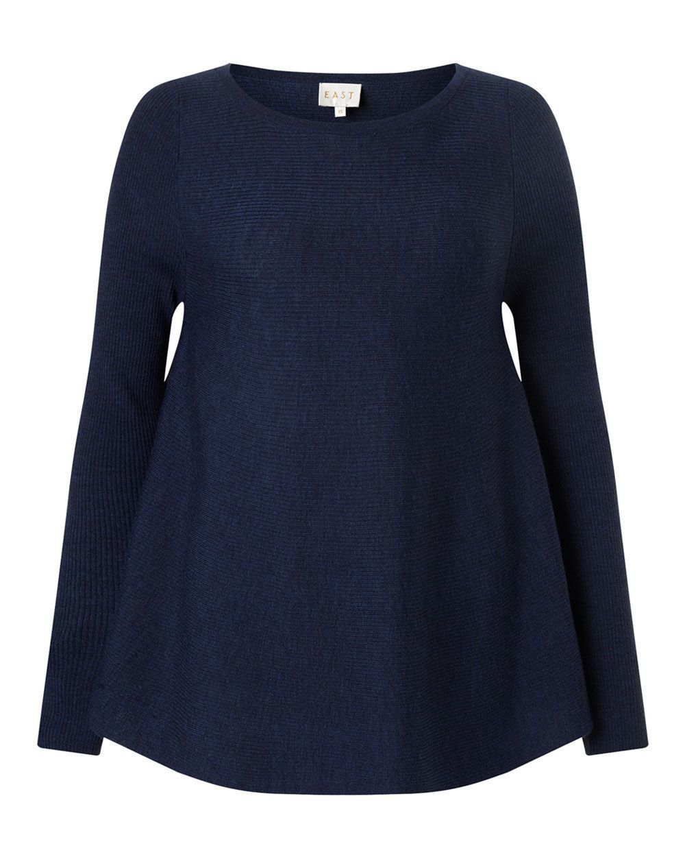 Merino Rib Swing Jumper, Indigo - neckline: round neck; pattern: plain; length: below the bottom; style: standard; predominant colour: navy; occasions: casual, creative work; fibres: wool - 100%; fit: loose; sleeve length: long sleeve; sleeve style: standard; texture group: knits/crochet; pattern type: knitted - fine stitch; season: a/w 2015; wardrobe: basic