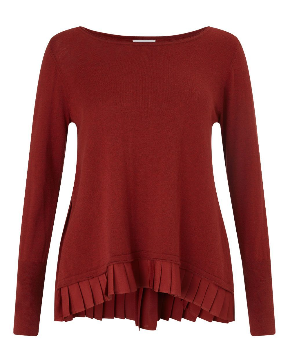 Pleat Back Jumper, Red - neckline: slash/boat neckline; pattern: plain; style: standard; predominant colour: burgundy; occasions: casual, creative work; length: standard; fit: loose; fibres: cashmere - 100%; sleeve length: long sleeve; sleeve style: standard; texture group: knits/crochet; pattern type: knitted - fine stitch; season: a/w 2015; wardrobe: highlight