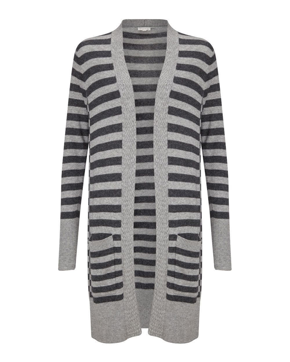 Stripe Knitted Cardigan, Grey - pattern: horizontal stripes; neckline: collarless open; style: open front; length: on the knee; secondary colour: charcoal; predominant colour: light grey; occasions: casual; fit: loose; sleeve length: long sleeve; sleeve style: standard; texture group: knits/crochet; pattern type: fabric; fibres: viscose/rayon - mix; multicoloured: multicoloured; season: a/w 2015; wardrobe: highlight