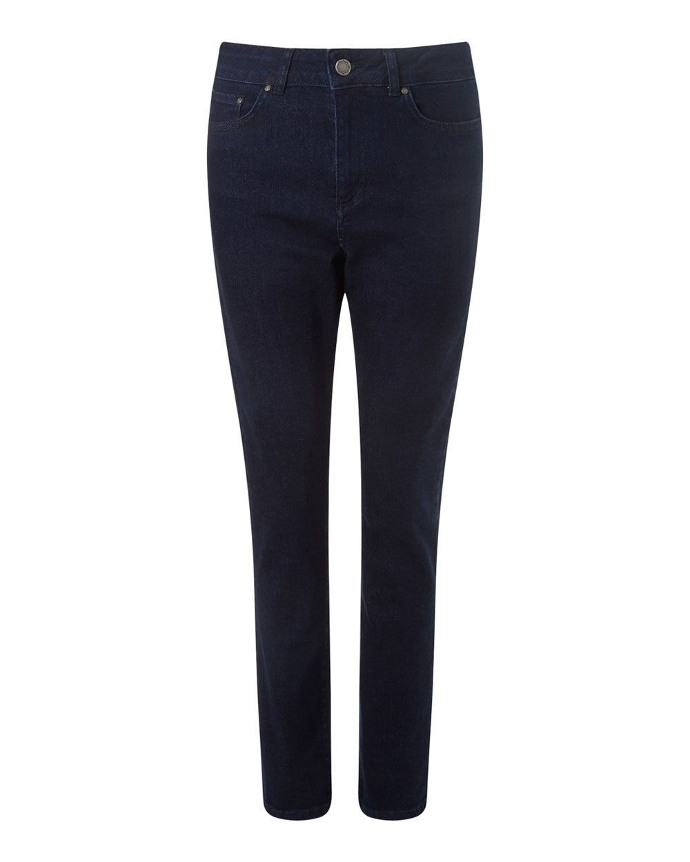 Straight Leg Denim Jean, Dark Blue - length: standard; pattern: plain; pocket detail: traditional 5 pocket; style: slim leg; waist: mid/regular rise; predominant colour: navy; occasions: casual; fibres: cotton - stretch; texture group: denim; pattern type: fabric; season: a/w 2015; wardrobe: basic