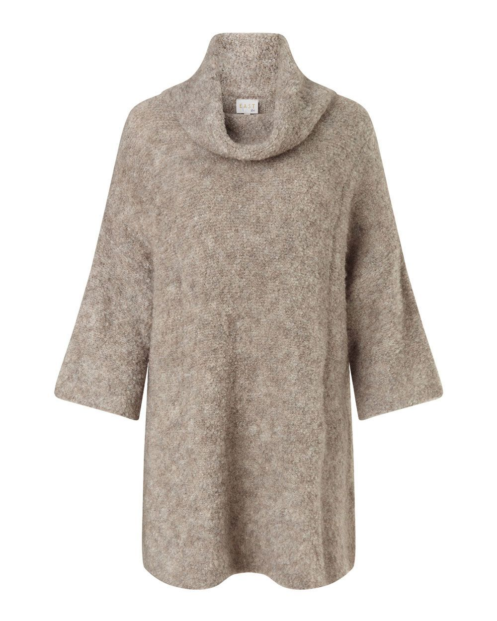 Cowl Neck Boucle Jumper, Stone - neckline: cowl/draped neck; pattern: plain; length: below the bottom; style: standard; predominant colour: camel; occasions: casual, creative work; fibres: wool - mix; fit: loose; sleeve length: 3/4 length; sleeve style: standard; texture group: knits/crochet; pattern type: knitted - fine stitch; season: a/w 2015; wardrobe: basic