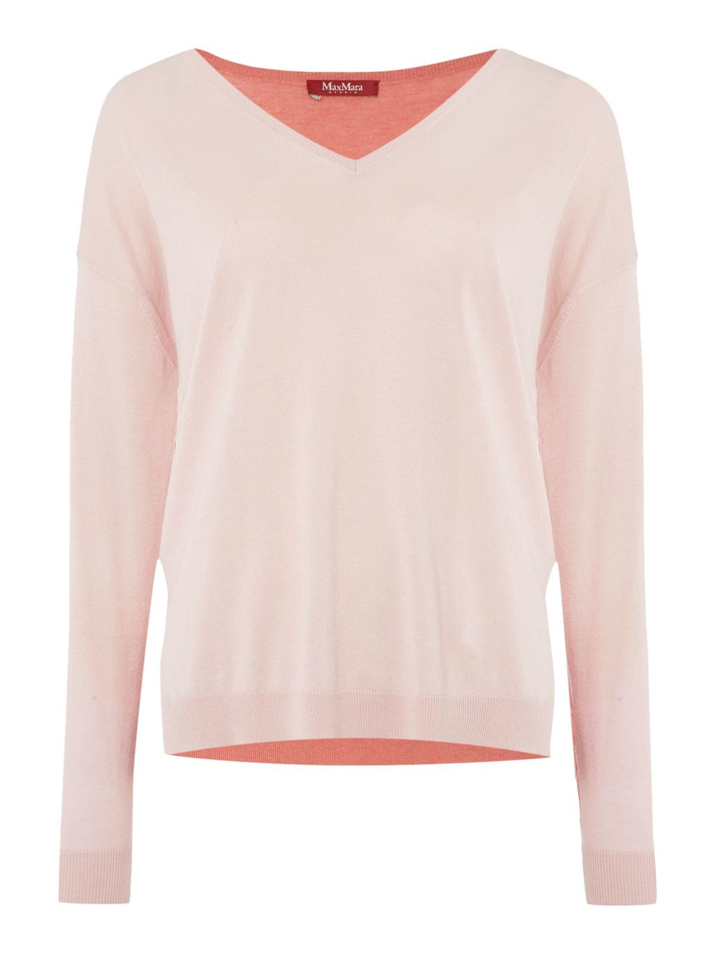 Tenuta Contrasting Colour V Neck Silk Mix Jumper, Pink - neckline: v-neck; pattern: plain; style: standard; predominant colour: blush; occasions: casual, creative work; length: standard; fibres: wool - mix; fit: standard fit; sleeve length: long sleeve; sleeve style: standard; texture group: knits/crochet; pattern type: knitted - fine stitch; season: a/w 2015; wardrobe: basic
