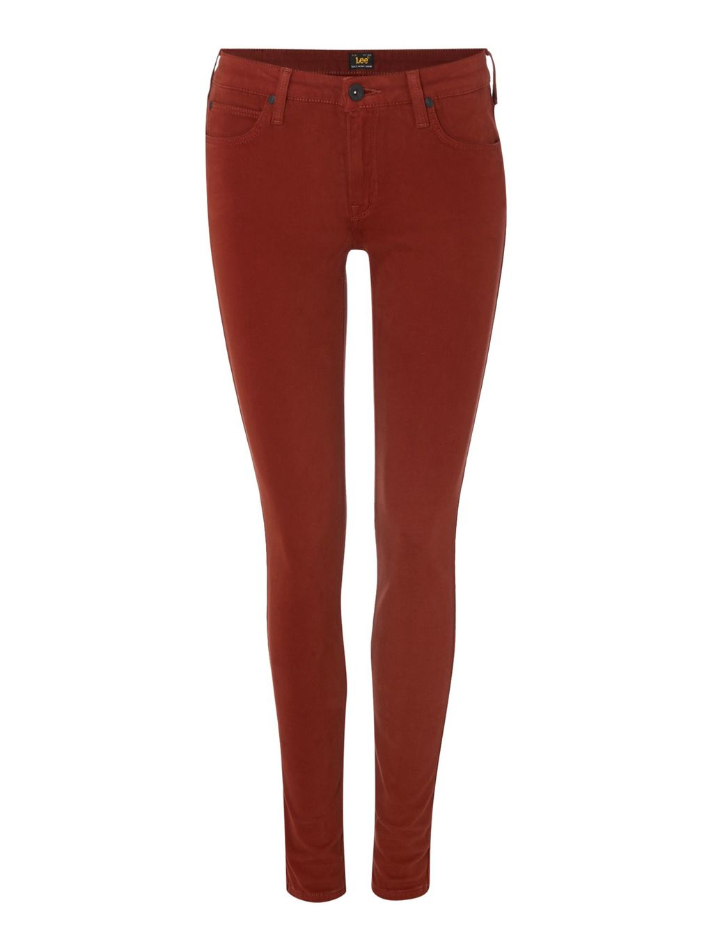 Scarlett Mid Rise Skinny Jean In Brick, Red - style: skinny leg; length: standard; pattern: plain; pocket detail: traditional 5 pocket; waist: mid/regular rise; predominant colour: terracotta; occasions: casual; fibres: cotton - stretch; texture group: denim; pattern type: fabric; season: a/w 2015; wardrobe: highlight