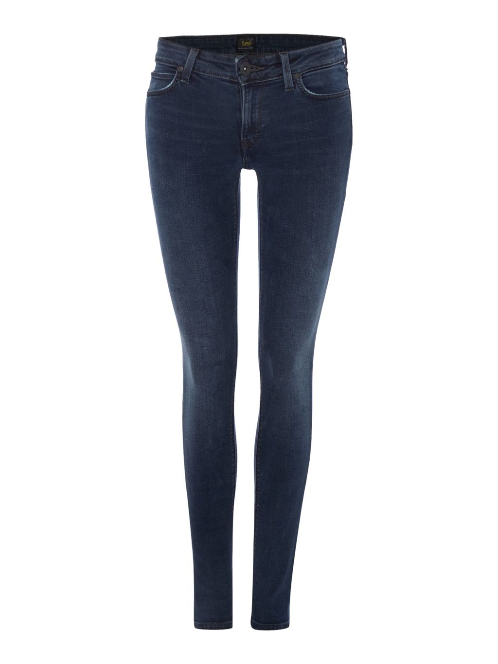 Scarlett Mid Rise Skinny Jean In Raven Blue, Denim Dark Wash - style: skinny leg; length: standard; pattern: plain; waist: low rise; pocket detail: traditional 5 pocket; predominant colour: navy; occasions: casual; fibres: cotton - stretch; texture group: denim; pattern type: fabric; season: a/w 2015