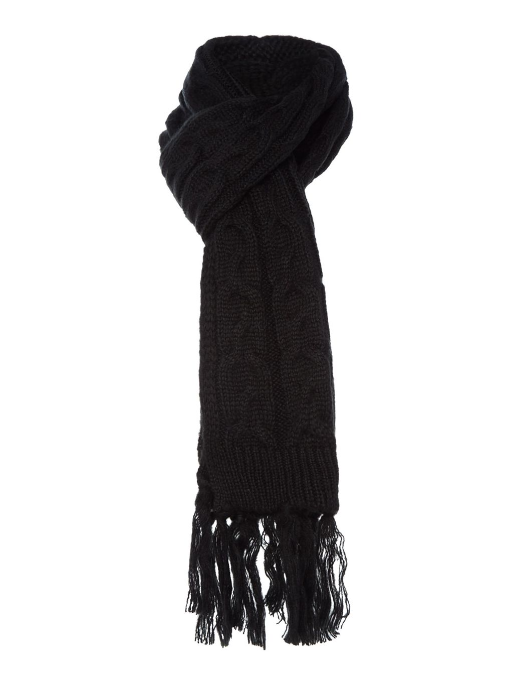Black Cable Scarf, Black - predominant colour: black; occasions: casual, creative work; style: regular; size: standard; material: knits; embellishment: fringing; pattern: plain; season: a/w 2015; wardrobe: basic