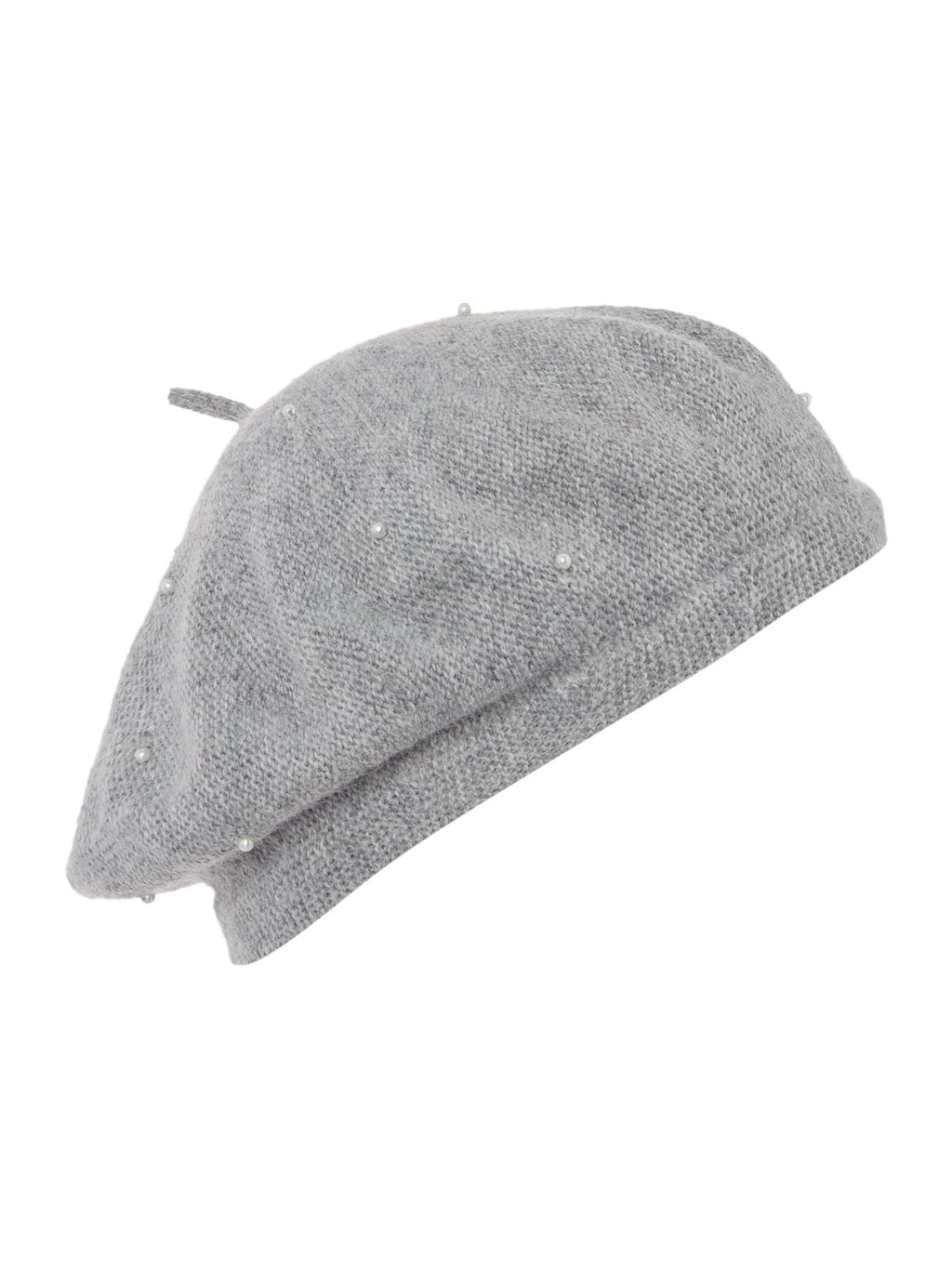 Matt Stud Beret, Grey - predominant colour: light grey; occasions: casual; type of pattern: standard; style: beanie; size: standard; material: knits; pattern: plain; season: a/w 2015; wardrobe: basic