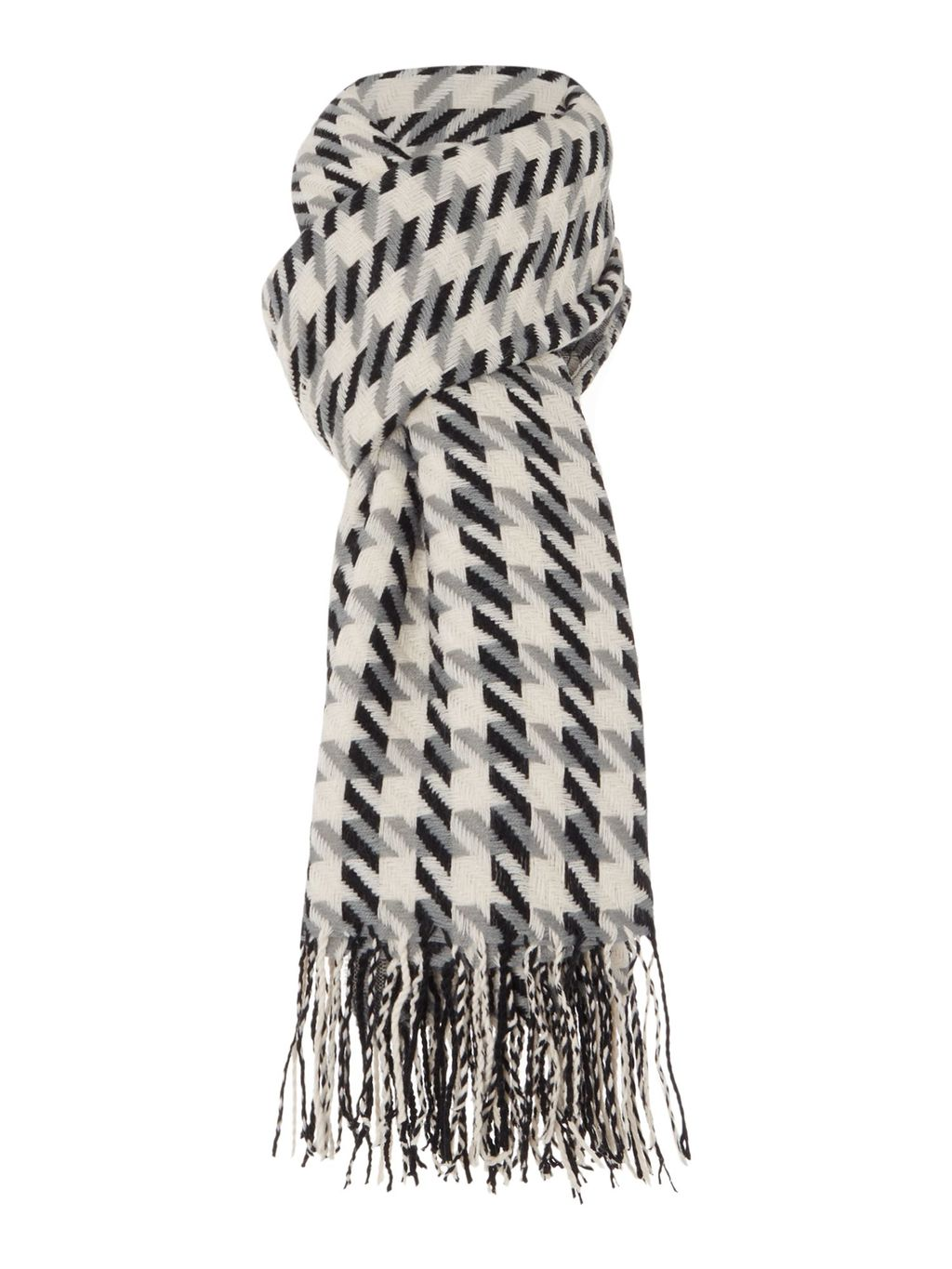 Dogtooth Zoom Mw Scarf, Monochrome - secondary colour: ivory/cream; predominant colour: black; occasions: casual, creative work; type of pattern: standard; style: regular; size: standard; material: knits; embellishment: fringing; pattern: checked/gingham; season: a/w 2015; wardrobe: highlight