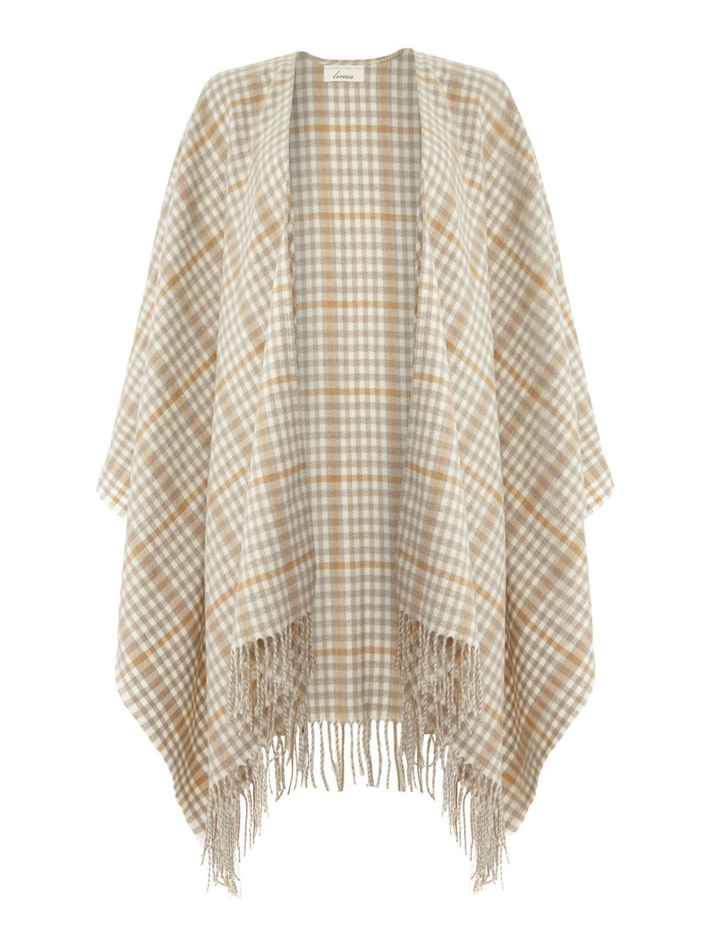 Dogtooth Woven Check Wrap, Neutral - pattern: checked/gingham; neckline: waterfall neck; length: below the bottom; secondary colour: ivory/cream; predominant colour: camel; occasions: casual, creative work; style: cape style; fibres: cotton - mix; fit: loose; hip detail: added detail/embellishment at hip; sleeve length: long sleeve; texture group: knits/crochet; pattern type: knitted - other; pattern size: standard; embellishment: fringing; sleeve style: cape/poncho sleeve; multicoloured: multicoloured; season: a/w 2015; wardrobe: highlight