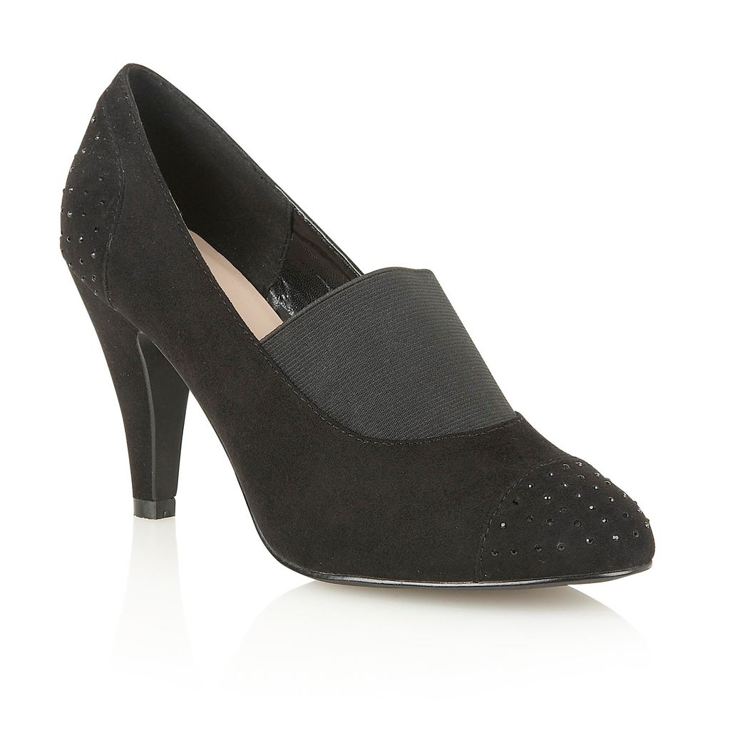 Llorona Court Shoes, Black - predominant colour: black; occasions: evening; heel height: high; embellishment: elasticated; heel: stiletto; toe: round toe; style: courts; finish: plain; pattern: plain; material: faux suede; season: a/w 2015; wardrobe: event