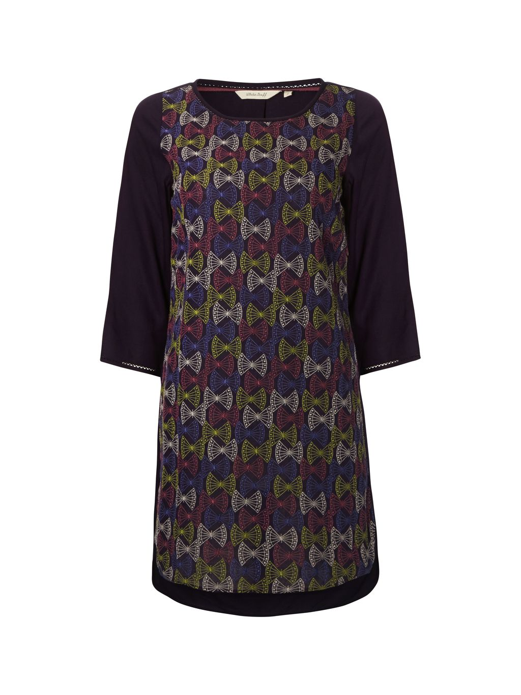 Nutkin Tunic, Purple - neckline: round neck; style: tunic; predominant colour: black; occasions: casual, creative work; fibres: viscose/rayon - 100%; fit: body skimming; length: mid thigh; sleeve length: 3/4 length; sleeve style: standard; pattern type: fabric; pattern: patterned/print; texture group: other - light to midweight; pattern size: big & busy (top); multicoloured: multicoloured; season: a/w 2015; wardrobe: highlight