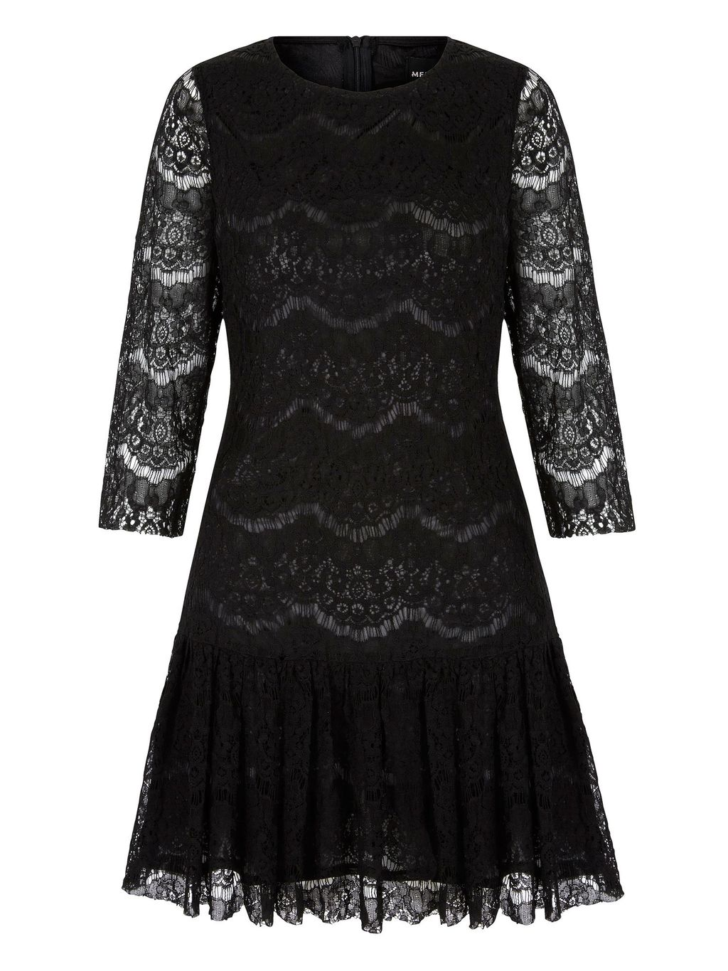 Lace Peplum Shift Dress, Black - style: shift; pattern: plain; predominant colour: black; occasions: evening; length: just above the knee; fit: body skimming; fibres: polyester/polyamide - 100%; neckline: crew; sleeve length: long sleeve; sleeve style: standard; texture group: lace; pattern type: fabric; pattern size: standard; season: a/w 2015; wardrobe: event