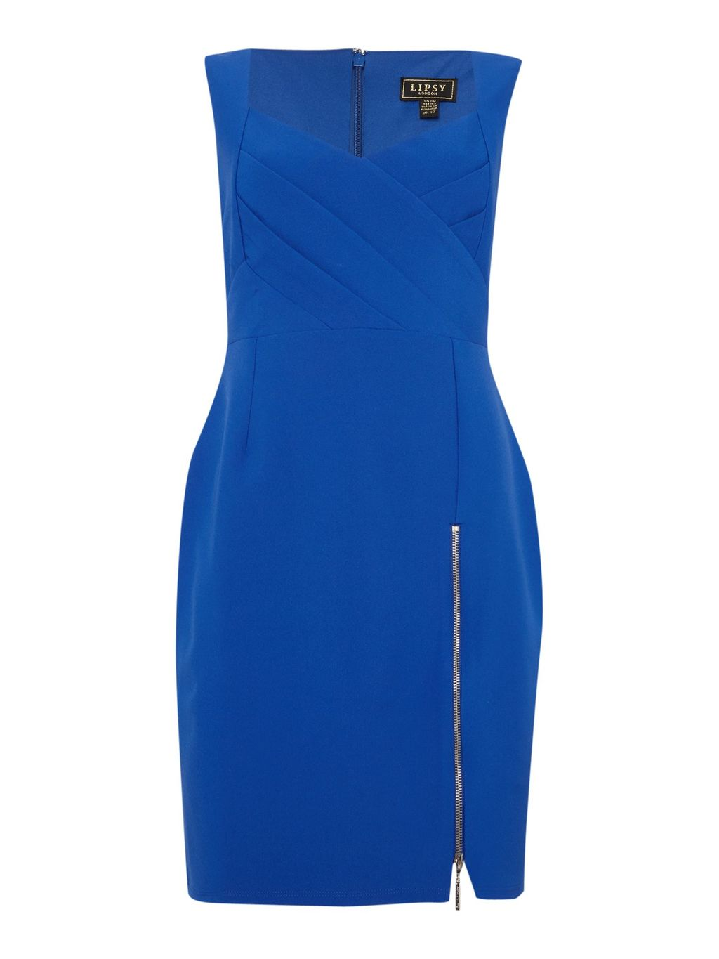 Cross Front Bodycon Zip Detail Dress, Cobalt - style: shift; neckline: v-neck; sleeve style: spaghetti straps; pattern: plain; predominant colour: royal blue; secondary colour: royal blue; occasions: evening, occasion; length: just above the knee; fit: body skimming; fibres: polyester/polyamide - 100%; sleeve length: sleeveless; pattern type: fabric; texture group: jersey - stretchy/drapey; embellishment: zips; season: a/w 2015; wardrobe: event