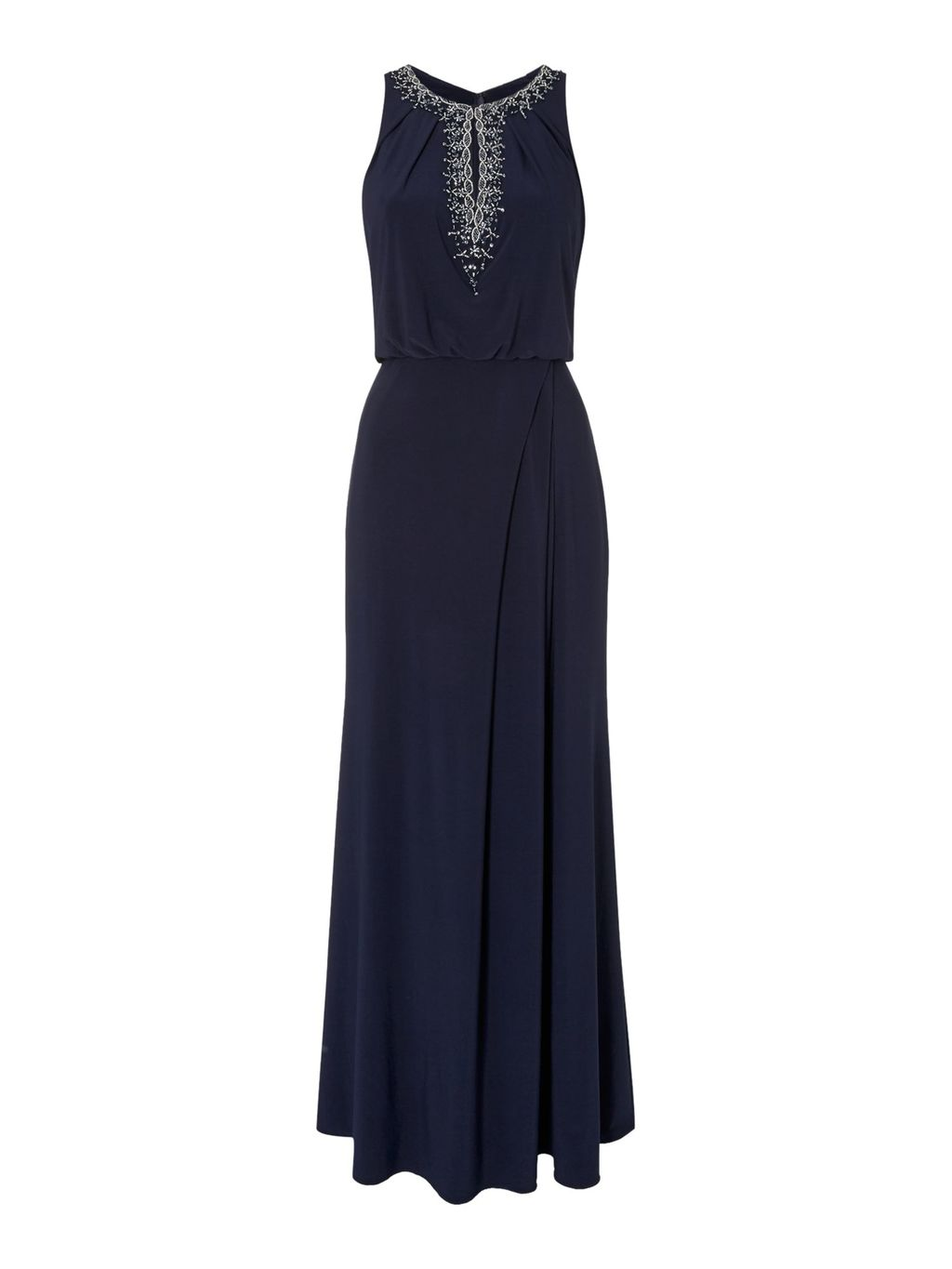 Blouson Gown With Keyhole Neckline, Navy - pattern: plain; sleeve style: sleeveless; style: maxi dress; length: ankle length; predominant colour: navy; secondary colour: silver; occasions: evening; fit: body skimming; neckline: peep hole neckline; fibres: polyester/polyamide - 100%; hip detail: subtle/flattering hip detail; sleeve length: sleeveless; texture group: crepes; pattern type: fabric; embellishment: beading; season: a/w 2015; wardrobe: event; embellishment location: bust