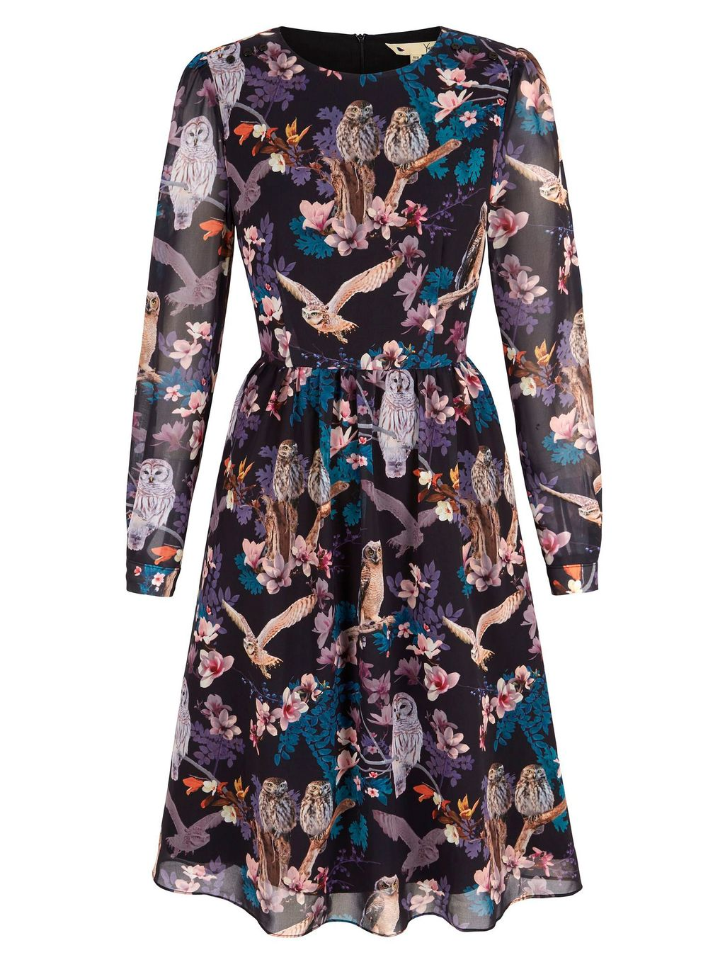 Owl And Flower Print Midi Dress, Black - secondary colour: purple; predominant colour: black; occasions: evening; length: on the knee; fit: fitted at waist & bust; style: fit & flare; fibres: polyester/polyamide - 100%; neckline: crew; hip detail: soft pleats at hip/draping at hip/flared at hip; sleeve length: long sleeve; sleeve style: standard; texture group: sheer fabrics/chiffon/organza etc.; pattern type: fabric; pattern: florals; multicoloured: multicoloured; season: a/w 2015